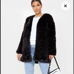 Long Black winter fur coat PrettyLittleThing